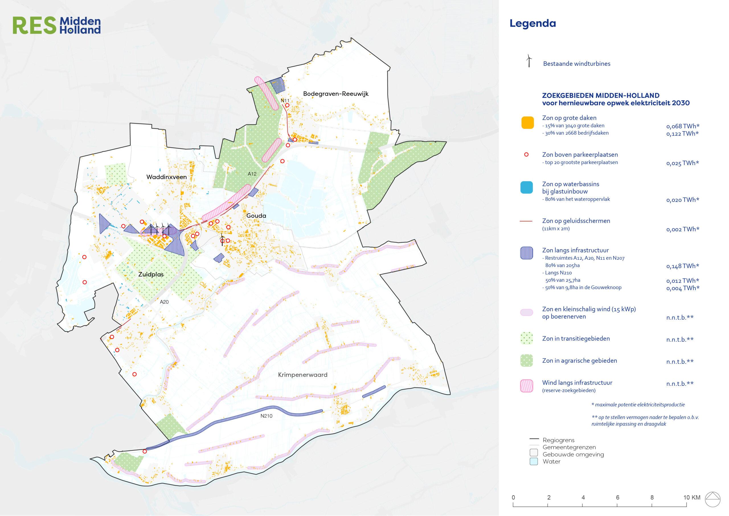 Kaart regio Midden Holland 5 gemeenten